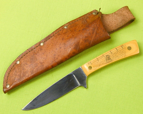 Vintage 1960-70's Custom Hand Made Scrimshaw Hunting Knife & Sheath