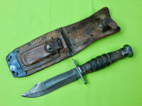 Vintage 1976 US Ontario Jet Pilot Survival Fighting Knife w/ Sheath
