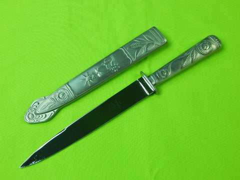 Vintage Brazilian Hercules Gaucho Alpaca Inox Engraved Fighting Knife & Scabbard
