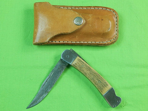 Vintage Custom Hand Made Lock Back Stag Folding Pocket Knife & Sheath