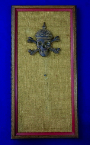 Vintage Display Board Wood Skull German WW1 Pickelhaube Helmet Military Decor