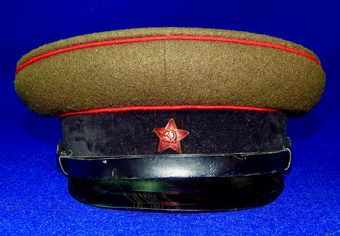 Early Post WW2 Military Soviet Russian USSR German Made Officer's Visor Hat Cap
