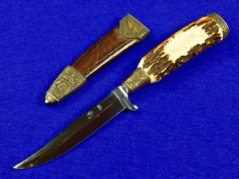 Vintage German Germany Rosco Solingen Fancy Carved Handle Hunting Knife