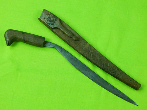 Vintage Old Philippine Philippines Mini Moro Bolo Fighting Knife & Scabbard