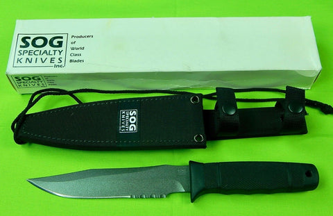 Vintage Seki Japan Japanese SOG Navy Seal 2000 Fighting Knife & Scabbard Box