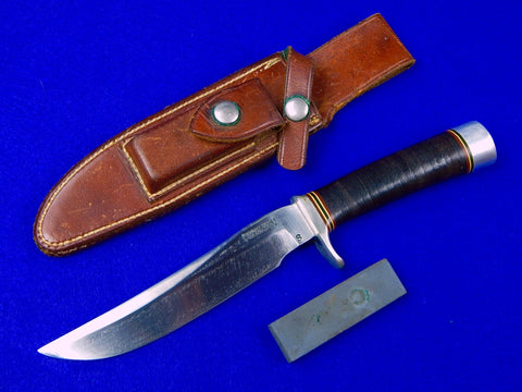 Vintage US Custom Handmade RANDALL Low S Stamped Hunting Knife & Sheath Stone