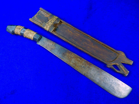 Antique Vintage Old African Africa Short Sword Knife w/ Scabbard