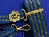 Antique French 19 century Naval Navy Officer's Sword Dagger Belt with Buckle & Hanger