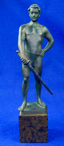 Antique German Germany Hans Keck Bronze Warrier w/ Sword Figurine Statue Art