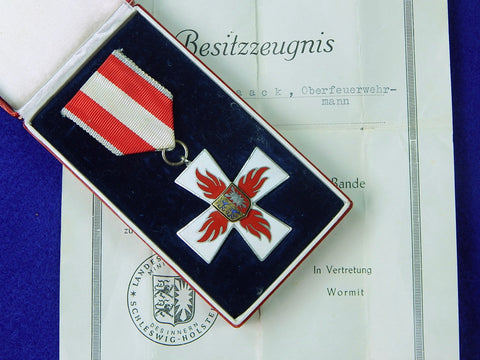 Vintage West German Germany 1956 Firefighter Cross w/ Box Document Medal Order