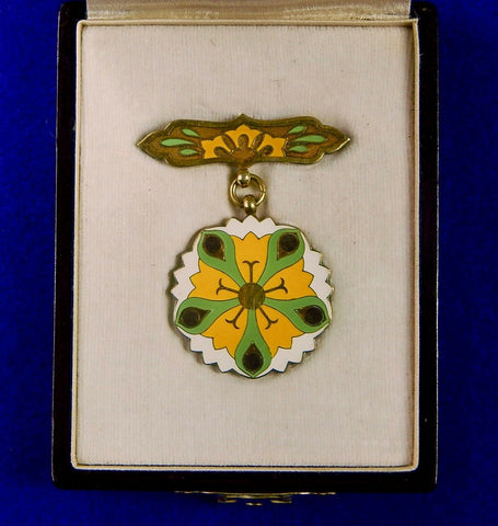 Japanese Japan WW2 Gift Foundation Green Leaves Merit Silver Medal Medals Order Badge Pin