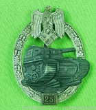 German Germany WW2 25 Assault Tanker Badge Pin