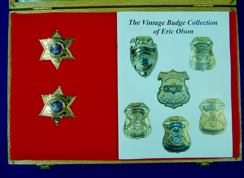 Vintage US Obsolete Set 2 Police Badge Pin Deputy Corporal Sheriff Marquette MI w/ Box