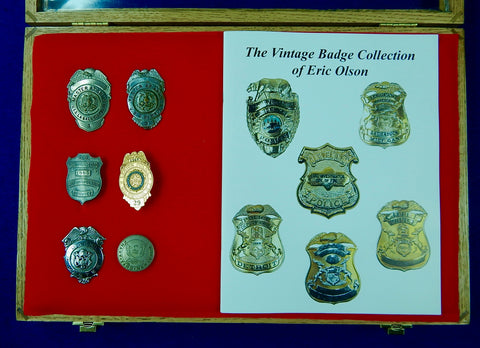 Vintage US Obsolete Set of 6 Police Badge Pin Navy Dock Master Legion Inspector w/ Box