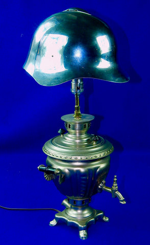 Soviet Russian Russia WW2 SSH-36 M36 Helmet Vintage Samovar Light Stand Lamp
