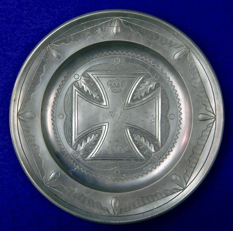 German Germany Antique WW1 Commemorative Iron Cross Pewter Plate Military Decor
