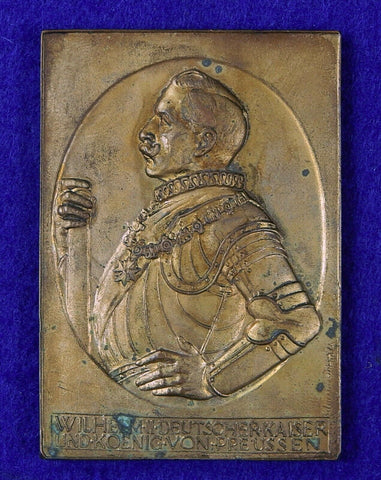 German Germany WWI WW1 W. Haverkamp Kaiser Wilhelm II Table Medal Plaque