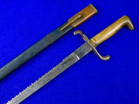 Antique German Germany 19 Century WW1 Model 1871 Saw Back Engraved Dress Dagger