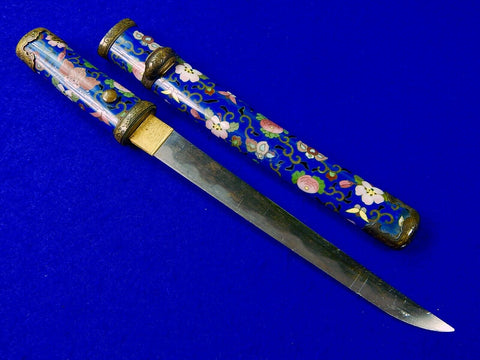 Antique Old 19 Century Japanese Japan Enameled Tanto Wakizashi Fighting Knife