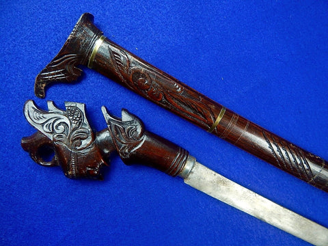 Vintage Indonesian Indonesia Sword w/ Scabbard Carved Wood
