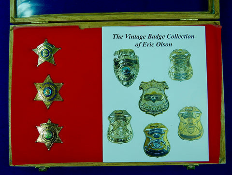 Vintage US Obsolete Set 3 Police Badge Pin Deputy Sergeant Sheriff w/ Box