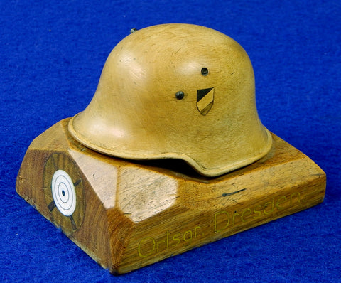German Germany Antique WW1 Carved Wood Shooting Competition Award Helmet