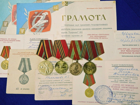 Soviet Russian USSR Lot 4 Medal Order Badge & 7 Document Award to Same Person