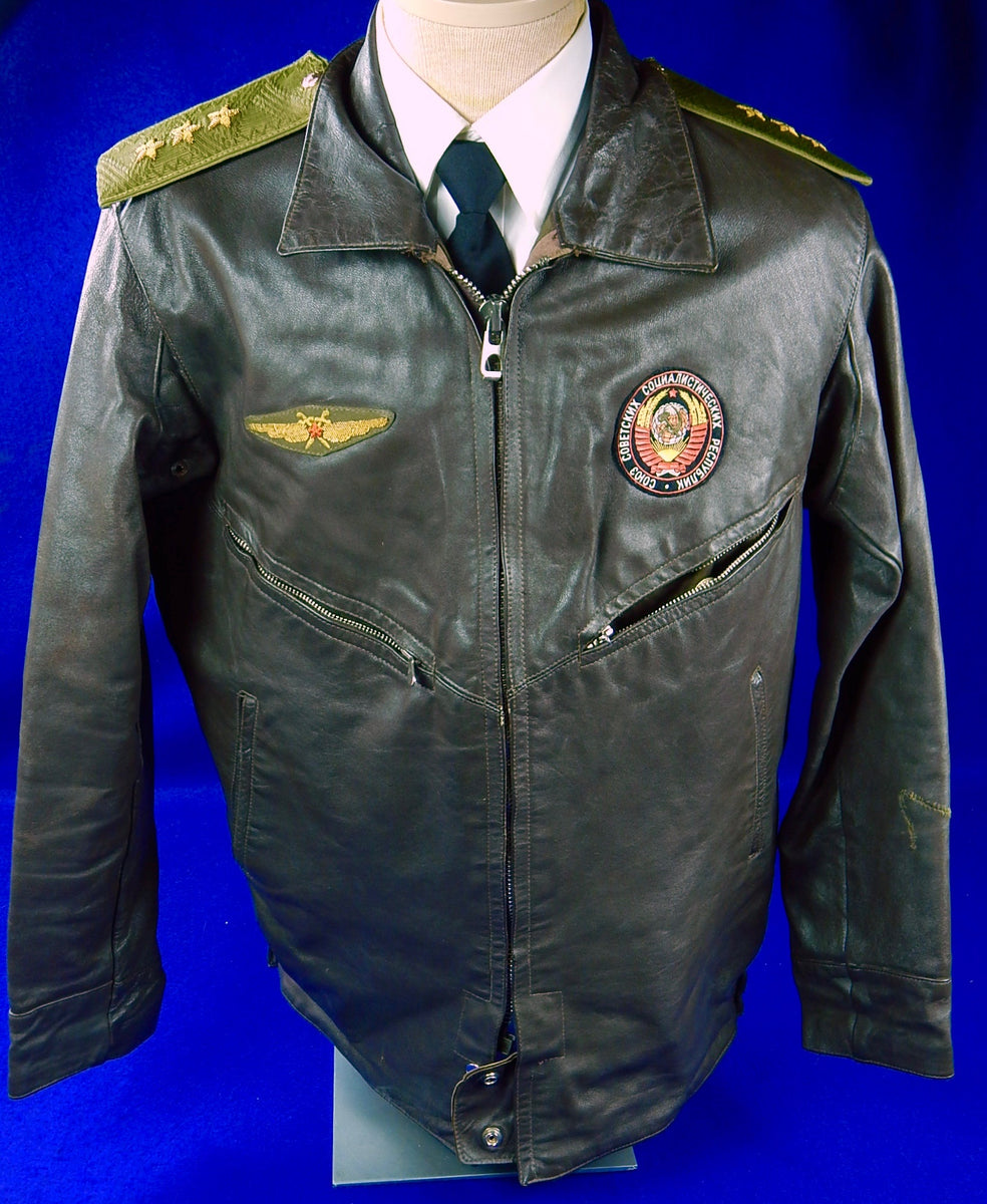 0a7f49d73 Vintage Soviet Russian Russia USSR Aviator Military Pilot Flight Leather  Jacket Uniform