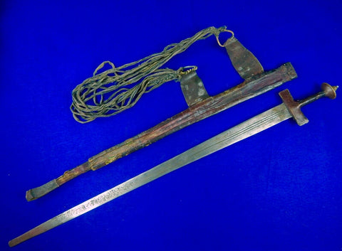 Antique Old Africa African 19 Century Large Takuba Sword w/ Scabbard