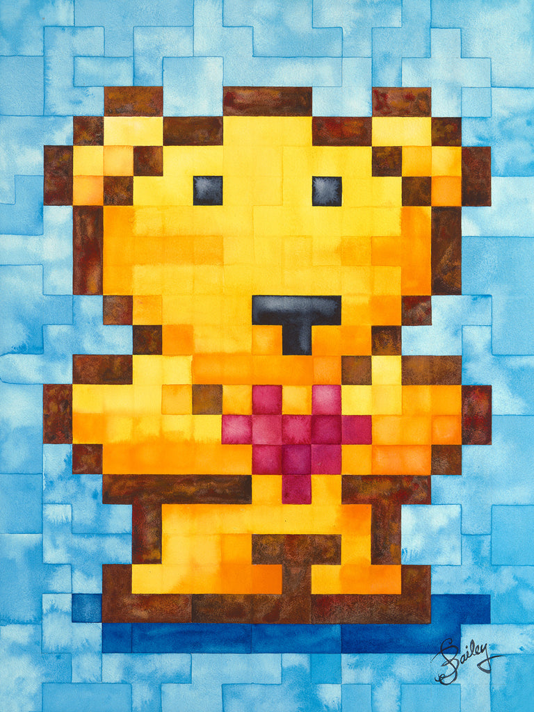 """Original Pixel-Bear #1"" — 18x24in. and  9x12in. Gicleé reproductions"