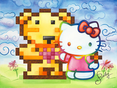 """Pixel-Bear is Gay! And That's Okay with Hello Kitty""  —  22x30in.  +  11x14in.  Gicleé reproductions"