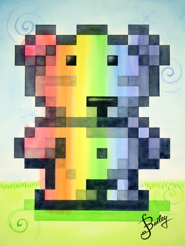 """Heartless Rainbow Pixel-Bear #1"" - 18x24in. original watercolor + Gicleé reproduction"