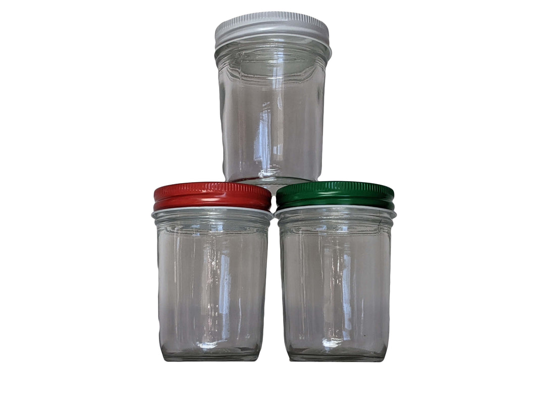 8 oz Glass Jar with Metal Screw Top Lid