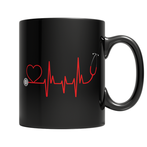 Limited Edition - EMS Nurse Doctor Love Pulse, 11oz Black Mug  | Evan Mila - EvanMila.com