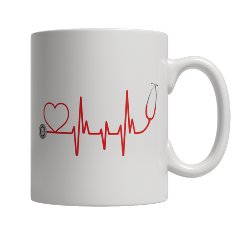 Limited Edition - EMS Nurse Doctor Love Pulse, 11oz White Mug  | Evan Mila - EvanMila.com