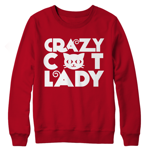 Limited Edition - Crazy Cat Lady (Red), Crewneck Fleece  | Evan Mila - EvanMila.com