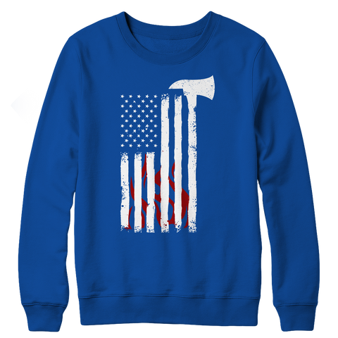 Firefighter Axe Flag, Crewneck Fleece  | Evan Mila - EvanMila.com
