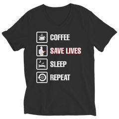 Coffee Save Lives Sleep Repeat, Ladies V-Neck  | Evan Mila - EvanMila.com