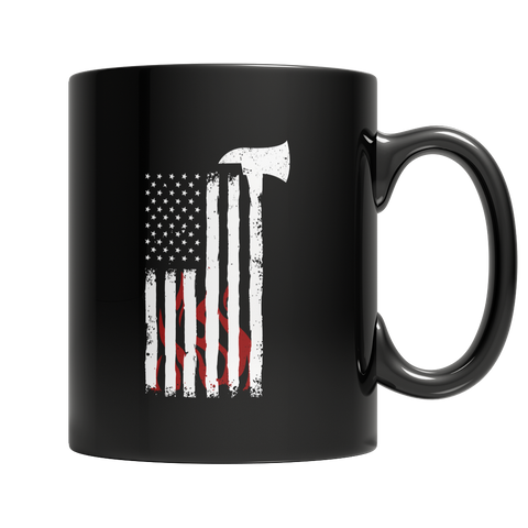Firefighter Axe Flag, 11oz Black Mug  | Evan Mila - EvanMila.com