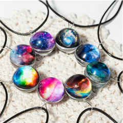 Glass Ball Planet Crystal Galaxy Pattern Leather Necklace 15 Varieties