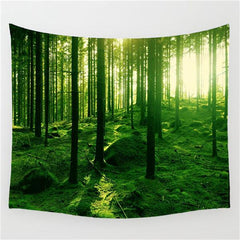 Tapestry - Deep Woods Green Heaven Wall Tapestry