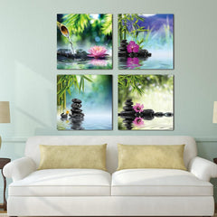 Wall Canvas - Bamboo Spa Zen Stone Canvas Wall Art Modern 4 Piece