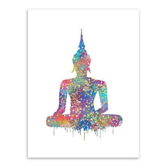 Wall Canvas - Watercolor Point Buddha Zen Poster Big Peace Wall Canvas Art