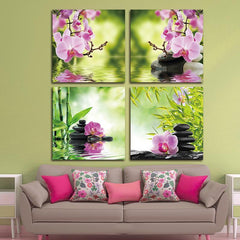 Wall Canvas - Zen Orchid Garden Canvas Modern Wall Art 4 Piece