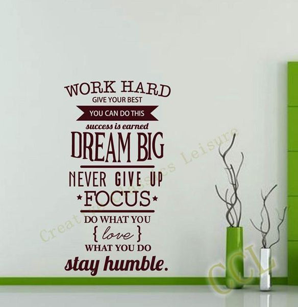 Motivation Wall Decal Never Give Up Dream Big Inspirational Quote