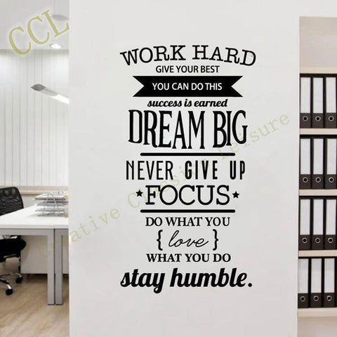 Motivation Wall Decal Never Give Up Dream Big Inspirational - Wall decals motivational quotes