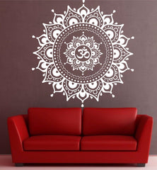 Wall Decal - Om Mandala Pattern Big Wall Decal Vinyl Art Sticker