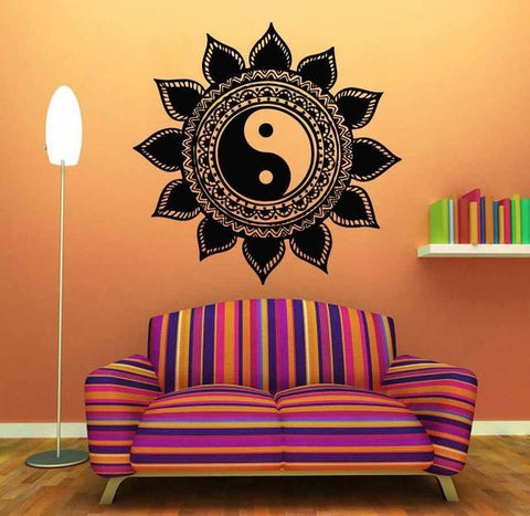 Yin Yang Wall Stickers Decal Floral Vinyl Removable Art Black ...