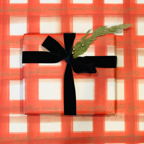 Mistletoe and Holly Plaid - Wrapping Paper
