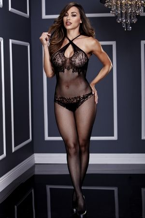 Baci BW3131 Criss Cross Floral Lace Crotchless Bodystocking